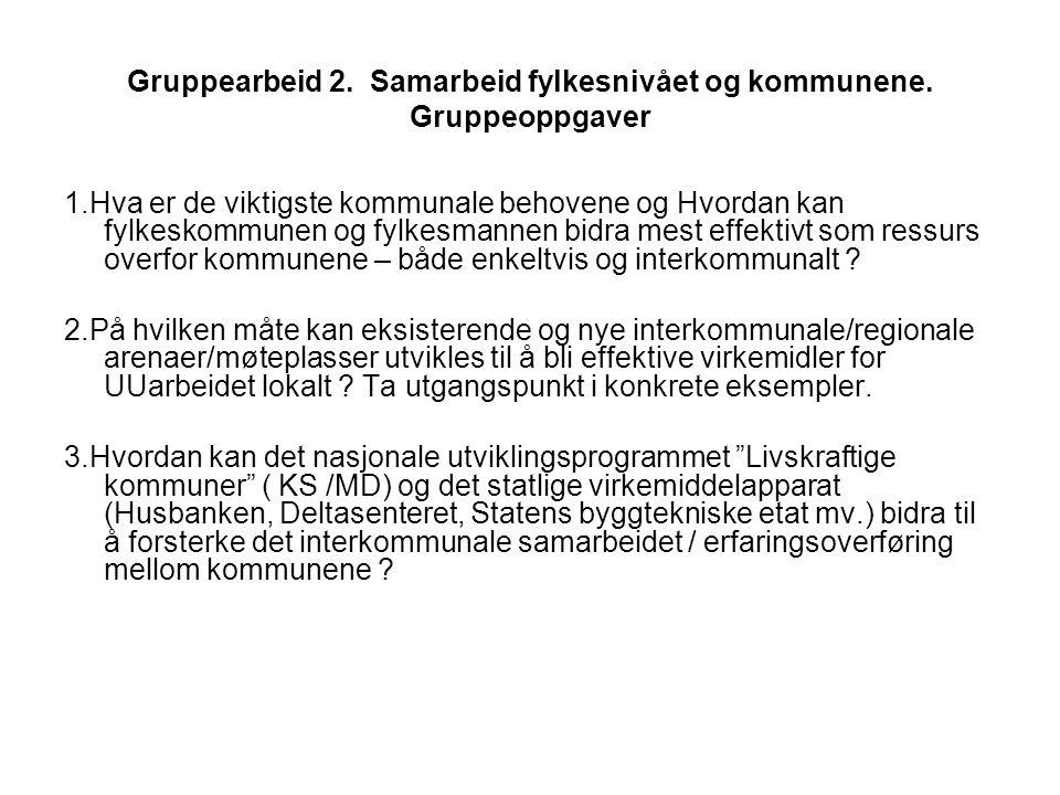Gruppearbeid 2. Samarbeid fylkesnivået og kommunene.