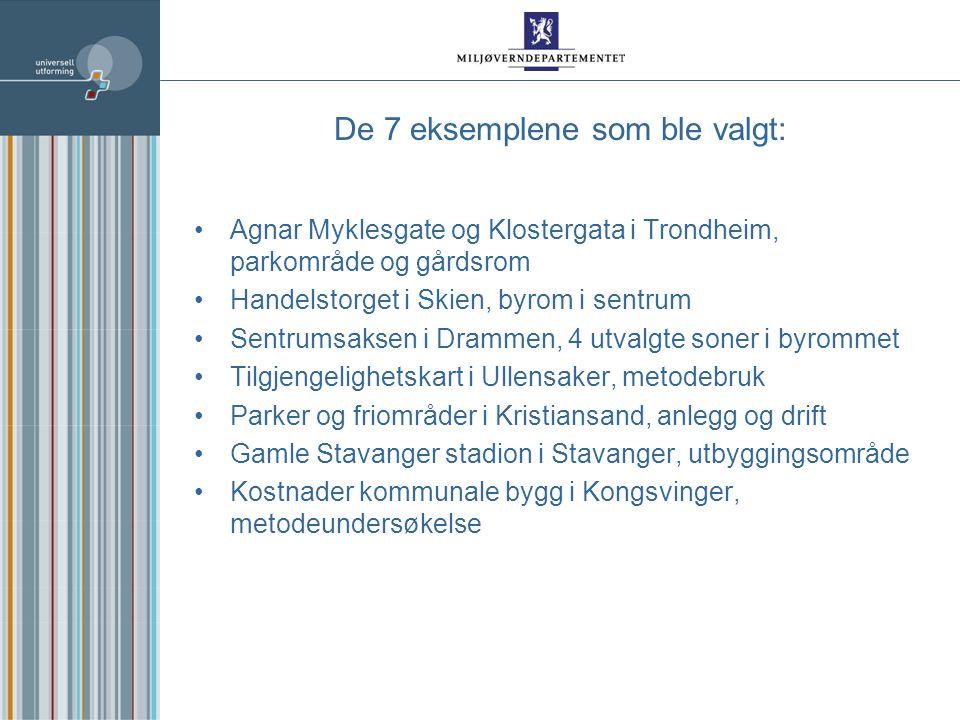 De 7 eksemplene som ble valgt: Agnar Myklesgate og Klostergata i Trondheim, parkområde og gårdsrom Handelstorget i Skien, byrom i sentrum Sentrumsaksen i Drammen, 4 utvalgte soner i byrommet Tilgjengelighetskart i Ullensaker, metodebruk Parker og friområder i Kristiansand, anlegg og drift Gamle Stavanger stadion i Stavanger, utbyggingsområde Kostnader kommunale bygg i Kongsvinger, metodeundersøkelse