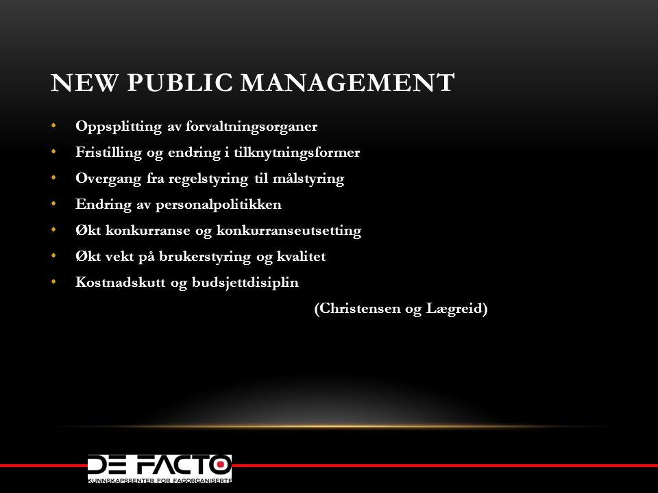 NEW PUBLIC MANAGEMENT Oppsplitting av forvaltningsorganer Fristilling og endring i tilknytningsformer Overgang fra regelstyring til målstyring Endring