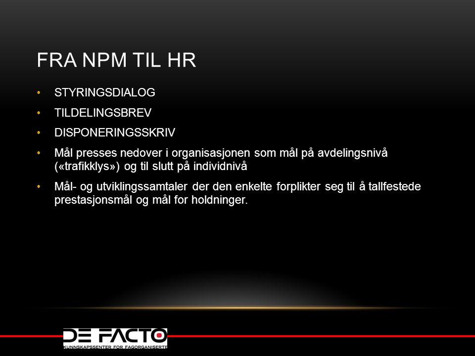 FRA NPM TIL HR STYRINGSDIALOG TILDELINGSBREV DISPONERINGSSKRIV Mål presses nedover i organisasjonen som mål på avdelingsnivå («trafikklys») og til slu
