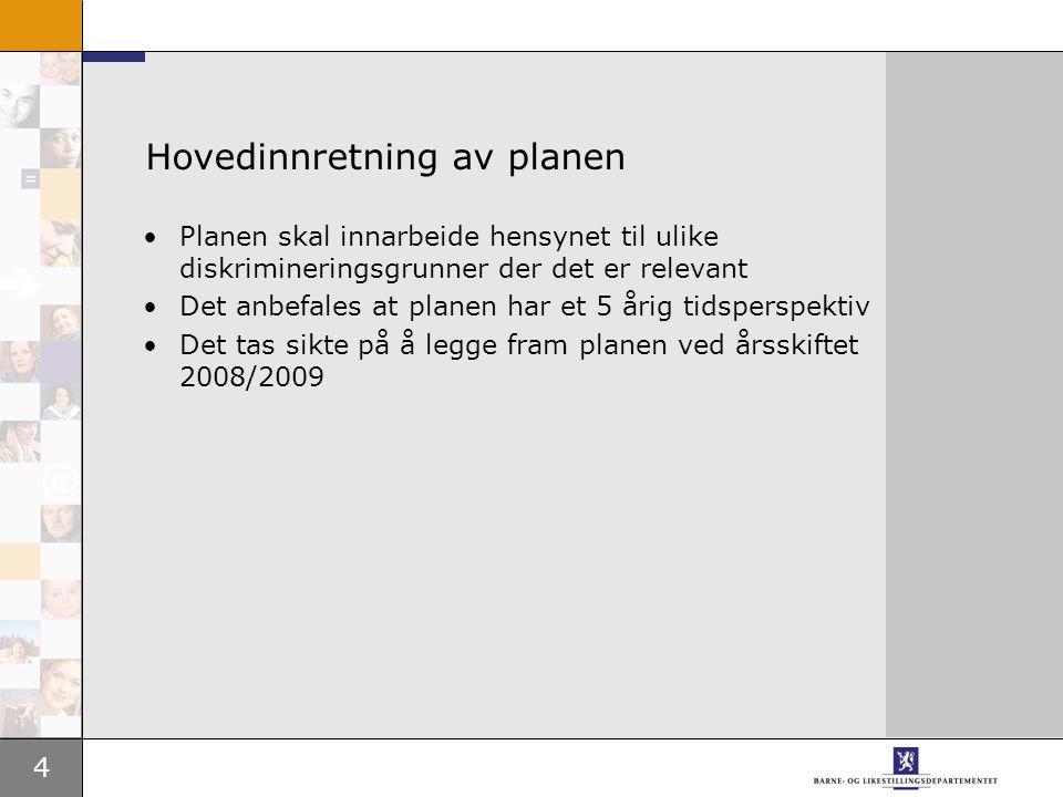 4 Hovedinnretning av planen Planen skal innarbeide hensynet til ulike diskrimineringsgrunner der det er relevant Det anbefales at planen har et 5 årig tidsperspektiv Det tas sikte på å legge fram planen ved årsskiftet 2008/2009