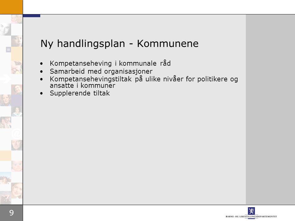 9 Ny handlingsplan - Kommunene Kompetanseheving i kommunale råd Samarbeid med organisasjoner Kompetansehevingstiltak på ulike nivåer for politikere og ansatte i kommuner Supplerende tiltak