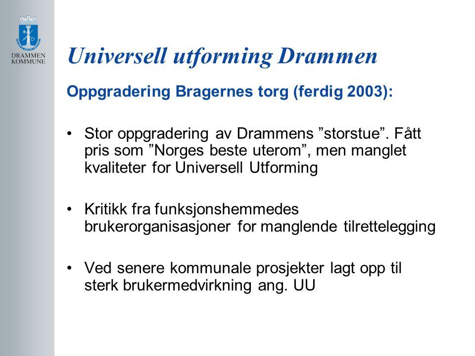 Universell utforming Drammen Drammen busstasjon (ferdigstilt 2004): Sterk brukermedvirkning fra kommunalt Råd for funksjonshemmede Blindeforbundet.