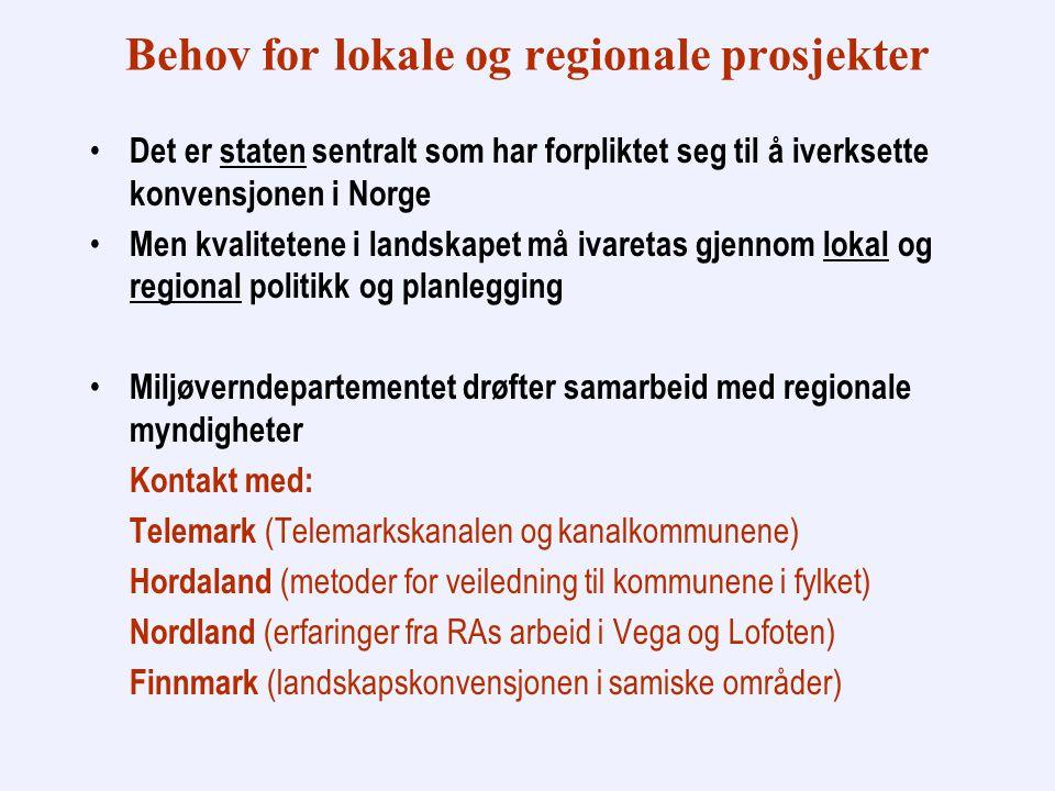 Behov for lokale og regionale prosjekter Det er staten sentralt som har forpliktet seg til å iverksette konvensjonen i Norge Men kvalitetene i landskapet må ivaretas gjennom lokal og regional politikk og planlegging Miljøverndepartementet drøfter samarbeid med regionale myndigheter Kontakt med: Telemark (Telemarkskanalen og kanalkommunene) Hordaland (metoder for veiledning til kommunene i fylket) Nordland (erfaringer fra RAs arbeid i Vega og Lofoten) Finnmark (landskapskonvensjonen i samiske områder)