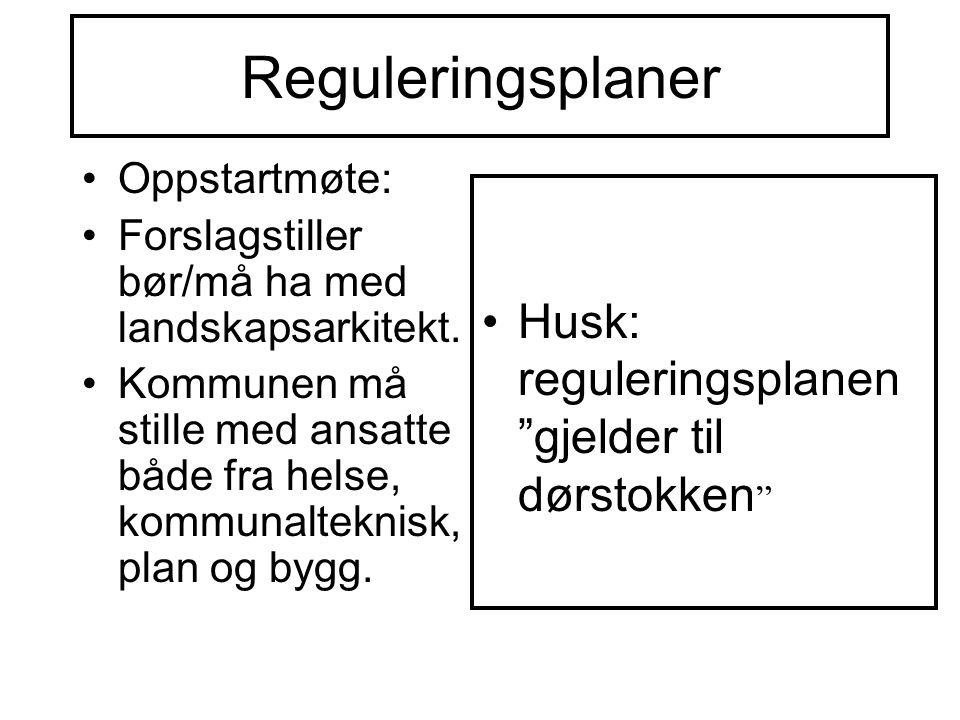 Reguleringsplaner Oppstartmøte: Forslagstiller bør/må ha med landskapsarkitekt.
