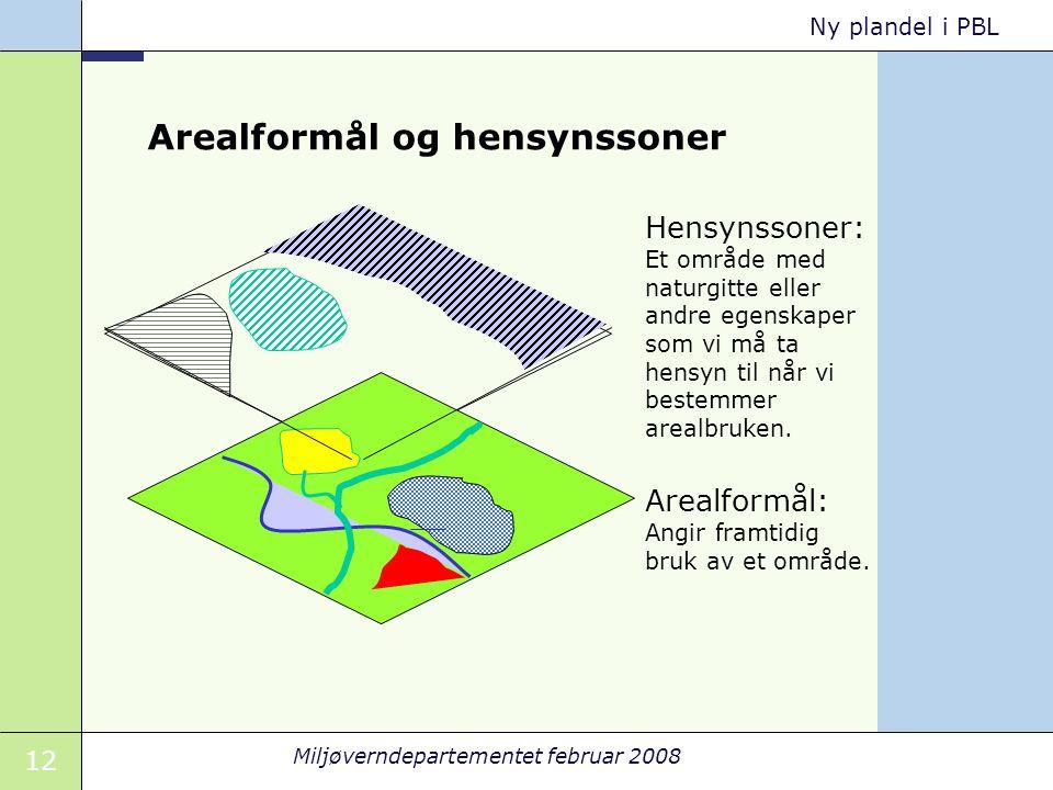 12 Miljøverndepartementet februar 2008 Ny plandel i PBL Arealformål og hensynssoner Hensynssoner: Et område med naturgitte eller andre egenskaper som