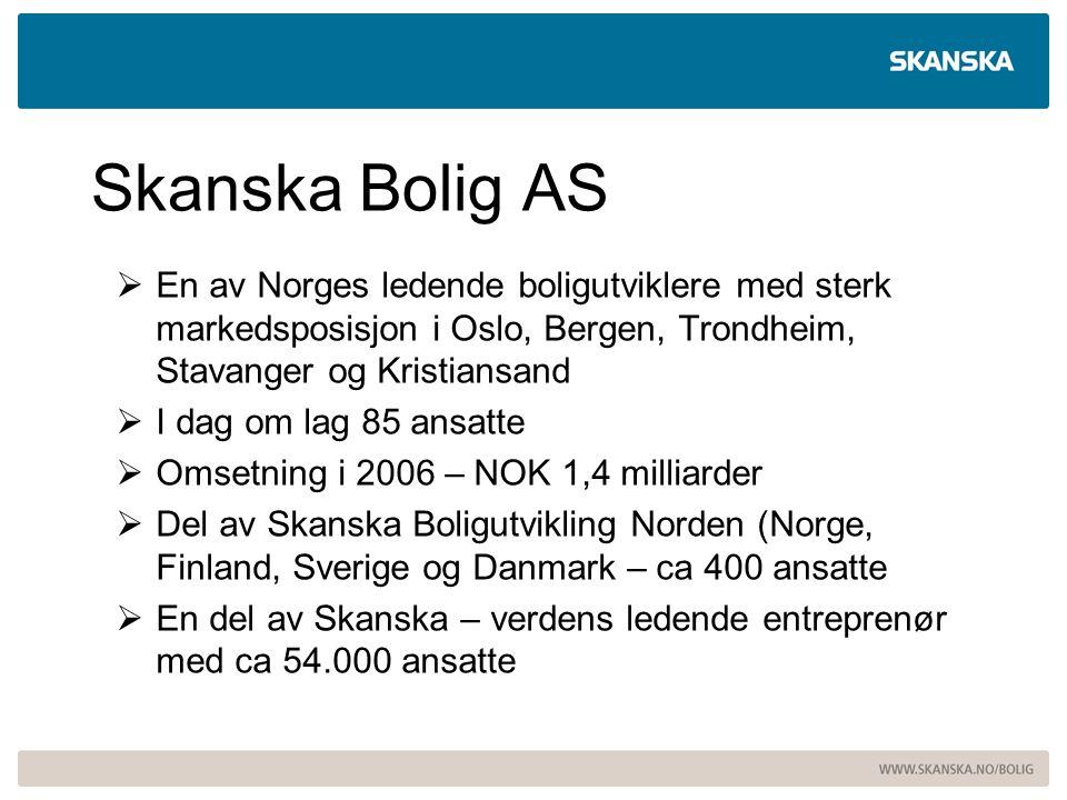 Skanska Bolig AS  En av Norges ledende boligutviklere med sterk markedsposisjon i Oslo, Bergen, Trondheim, Stavanger og Kristiansand  I dag om lag 8