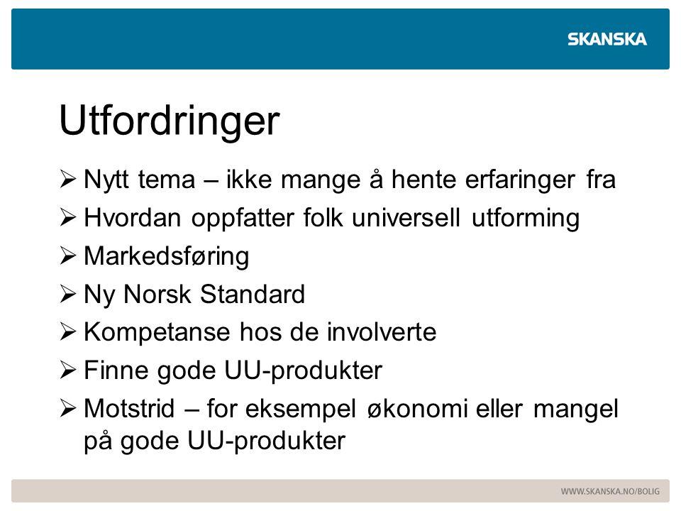 Utfordringer  Nytt tema – ikke mange å hente erfaringer fra  Hvordan oppfatter folk universell utforming  Markedsføring  Ny Norsk Standard  Kompe