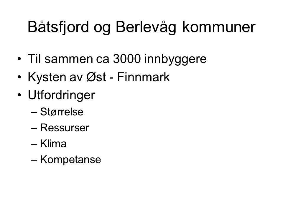 Båtsfjord og Berlevåg kommuner Til sammen ca 3000 innbyggere Kysten av Øst - Finnmark Utfordringer –Størrelse –Ressurser –Klima –Kompetanse