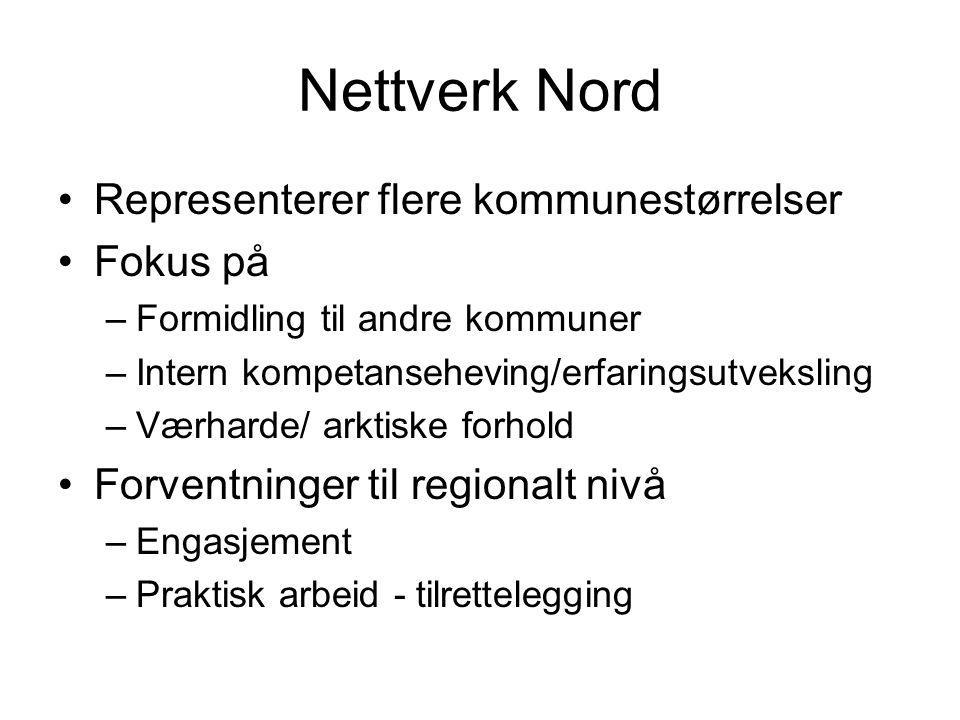 Nettverk Nord Representerer flere kommunestørrelser Fokus på –Formidling til andre kommuner –Intern kompetanseheving/erfaringsutveksling –Værharde/ ar