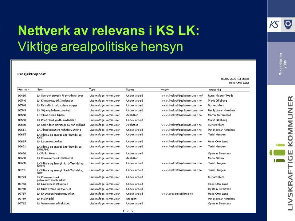 Presentasjon 2009 LK Nettverk Livskvalitet og folkehelse