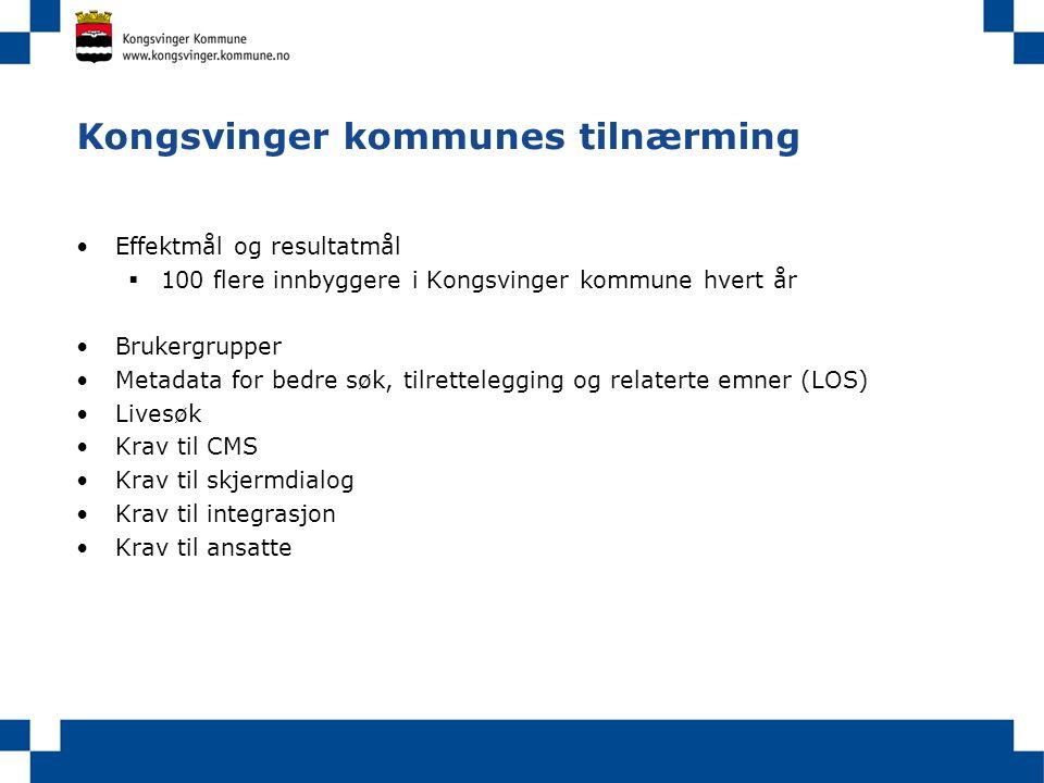 Kongsvinger kommunes tilnærming Effektmål og resultatmål  100 flere innbyggere i Kongsvinger kommune hvert år Brukergrupper Metadata for bedre søk, t