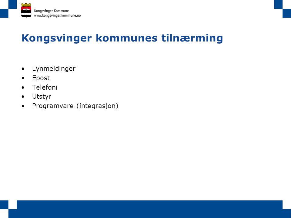 Kongsvinger kommunes tilnærming Lynmeldinger Epost Telefoni Utstyr Programvare (integrasjon)