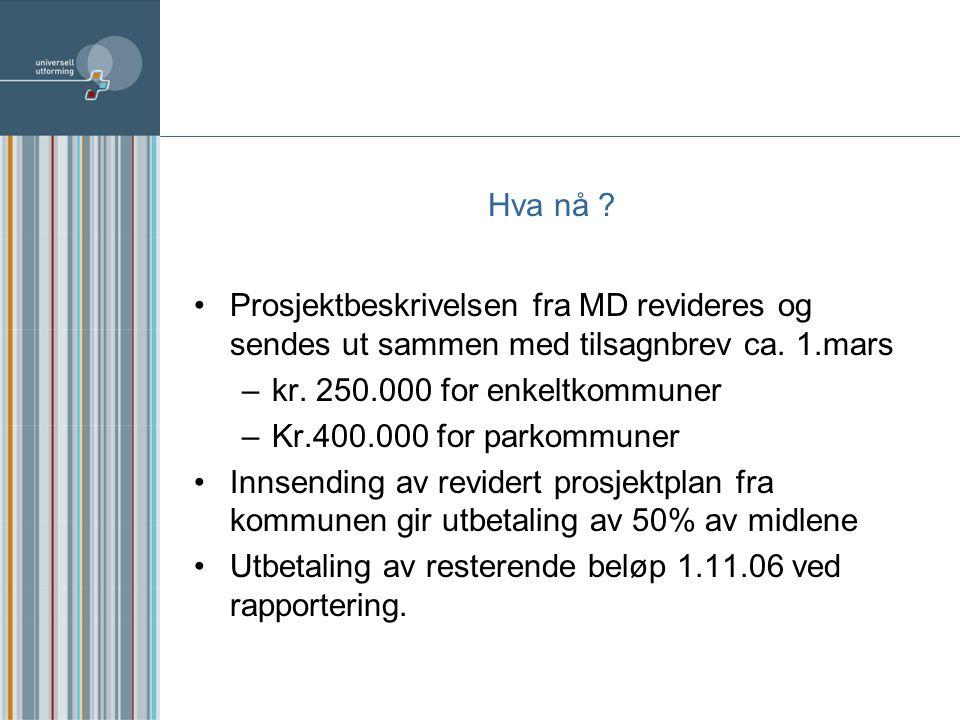 Hva nå .Prosjektbeskrivelsen fra MD revideres og sendes ut sammen med tilsagnbrev ca.