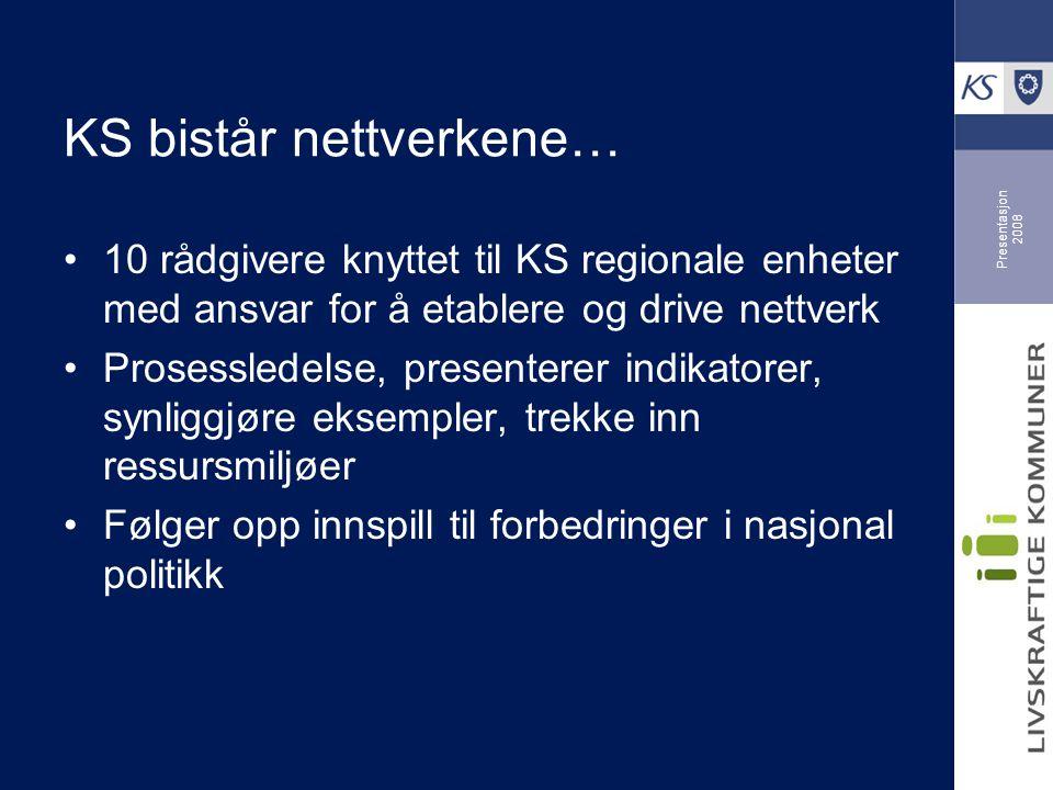 Presentasjon 2008 KS bistår nettverkene… 10 rådgivere knyttet til KS regionale enheter med ansvar for å etablere og drive nettverk Prosessledelse, presenterer indikatorer, synliggjøre eksempler, trekke inn ressursmiljøer Følger opp innspill til forbedringer i nasjonal politikk