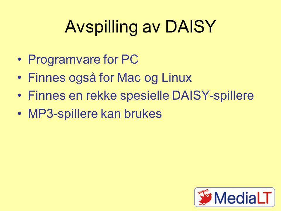 Microsoft Word I praksis et format alle som bruker PC kan lese For god tilgjengelighet: bruk struktur Finnes verktøy som lager DAISY av word- dokumenter Dolphin Producer RoboBraille (ikke på norsk)