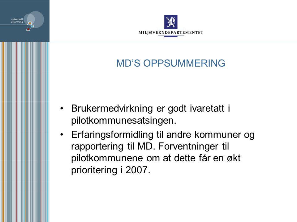 MD'S OPPSUMMERING Brukermedvirkning er godt ivaretatt i pilotkommunesatsingen.