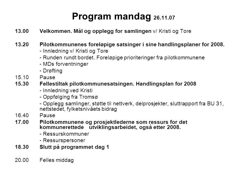 Program mandag 26.11.07 13.00 Velkommen.