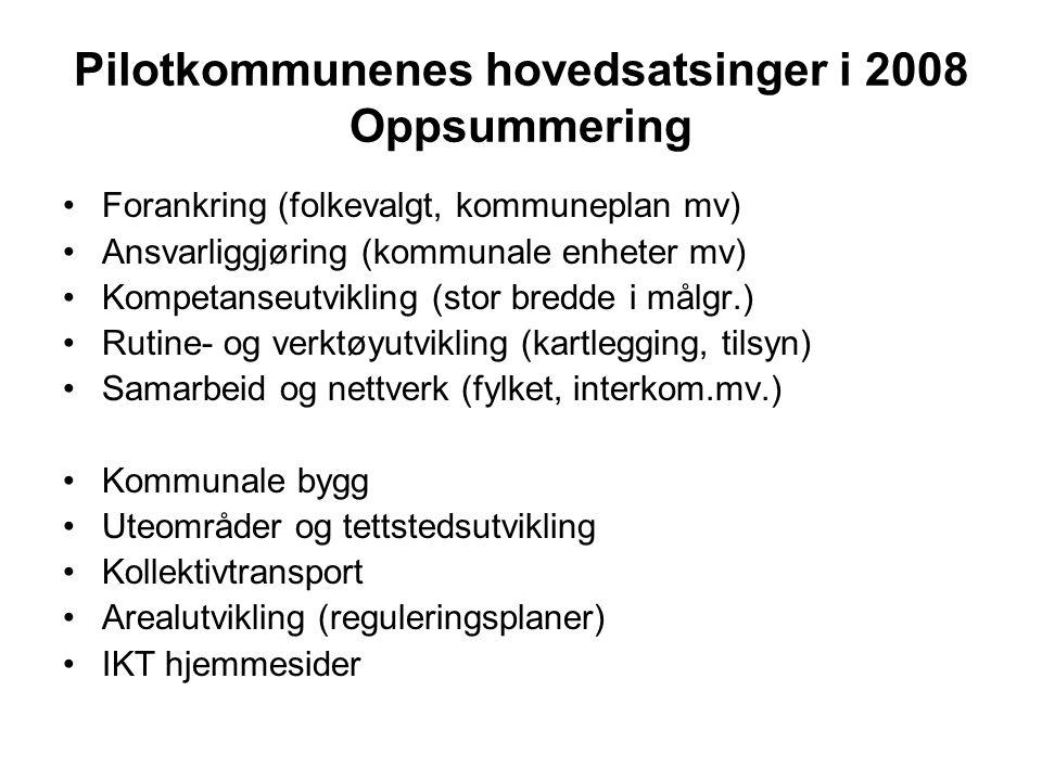 Pilotkommunenes hovedsatsinger i 2008 Oppsummering Forankring (folkevalgt, kommuneplan mv) Ansvarliggjøring (kommunale enheter mv) Kompetanseutvikling (stor bredde i målgr.) Rutine- og verktøyutvikling (kartlegging, tilsyn) Samarbeid og nettverk (fylket, interkom.mv.) Kommunale bygg Uteområder og tettstedsutvikling Kollektivtransport Arealutvikling (reguleringsplaner) IKT hjemmesider