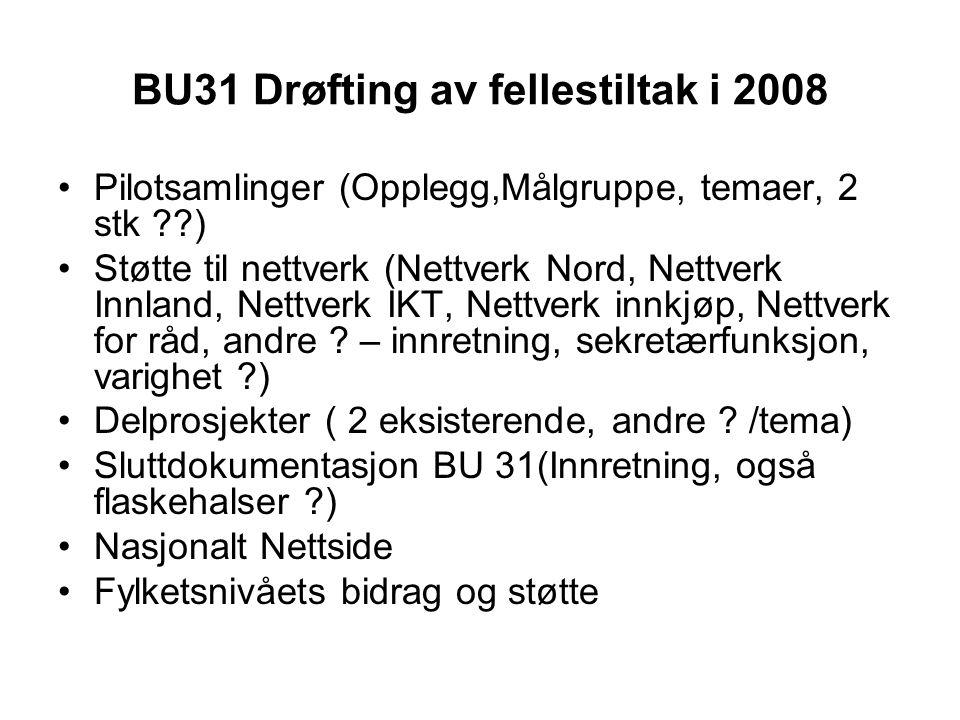 BU31 Drøfting av fellestiltak i 2008 Pilotsamlinger (Opplegg,Målgruppe, temaer, 2 stk ) Støtte til nettverk (Nettverk Nord, Nettverk Innland, Nettverk IKT, Nettverk innkjøp, Nettverk for råd, andre .