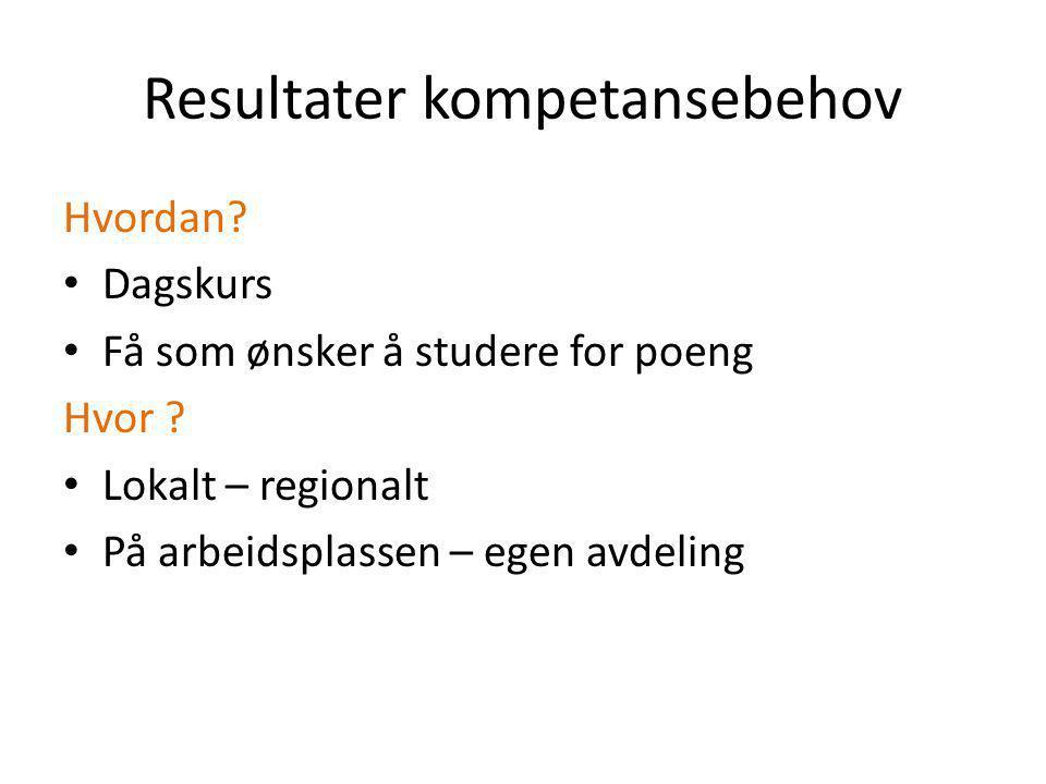 Resultater kompetansebehov Hvordan. Dagskurs Få som ønsker å studere for poeng Hvor .