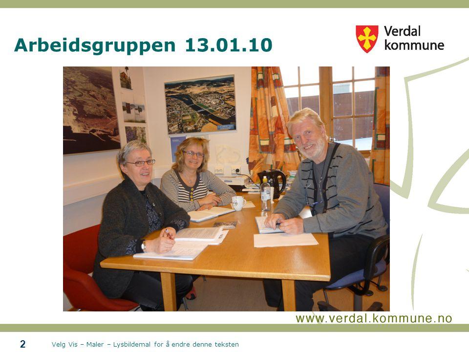 Velg Vis – Maler – Lysbildemal for å endre denne teksten Arbeidsgruppen 13.01.10 2