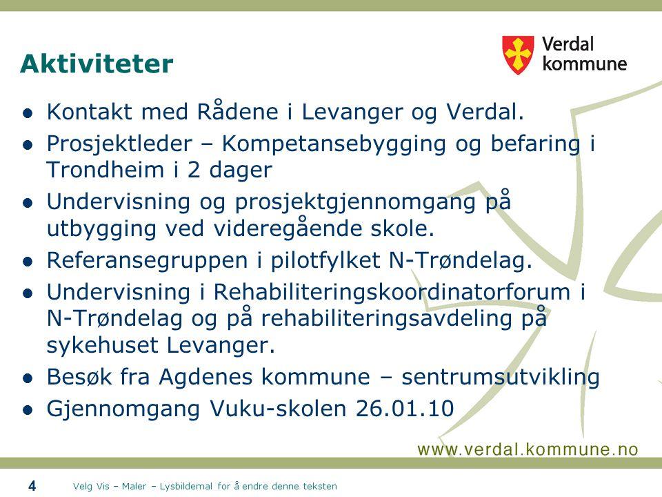 Velg Vis – Maler – Lysbildemal for å endre denne teksten Aktiviteter Kontakt med Rådene i Levanger og Verdal. Prosjektleder – Kompetansebygging og bef