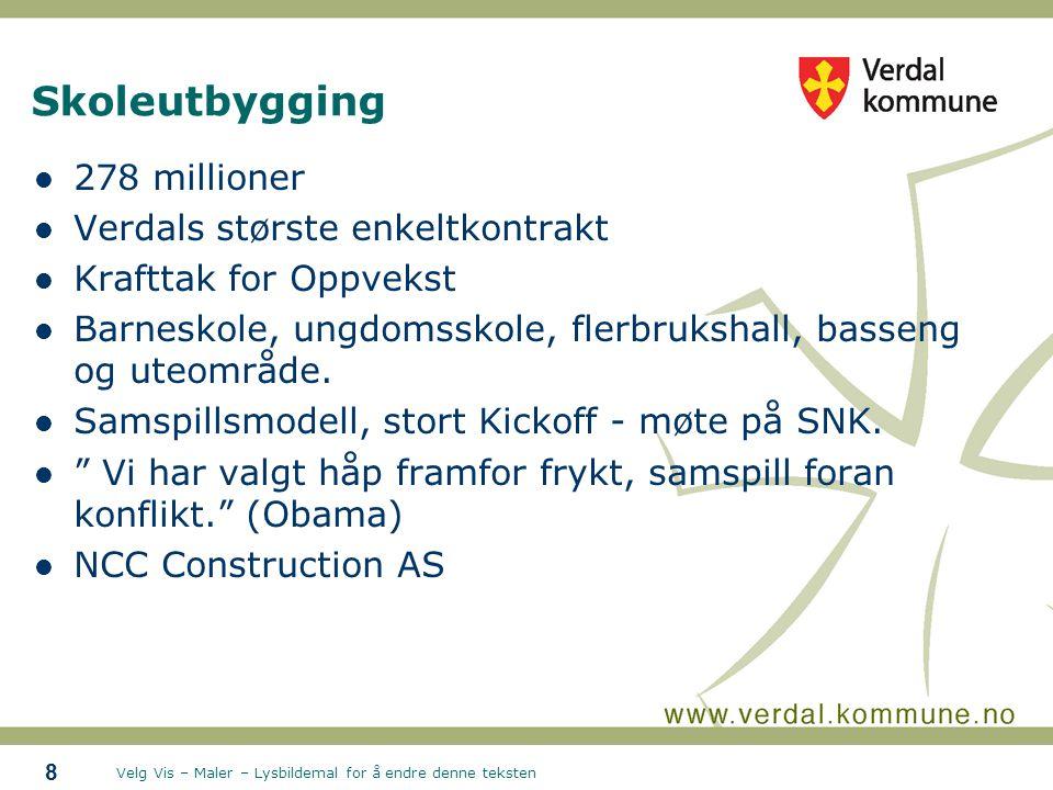 Velg Vis – Maler – Lysbildemal for å endre denne teksten Skoleutbygging 278 millioner Verdals største enkeltkontrakt Krafttak for Oppvekst Barneskole, ungdomsskole, flerbrukshall, basseng og uteområde.
