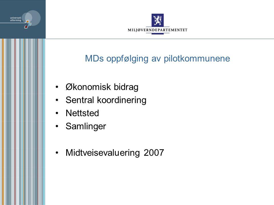 MDs oppfølging av pilotkommunene Økonomisk bidrag Sentral koordinering Nettsted Samlinger Midtveisevaluering 2007