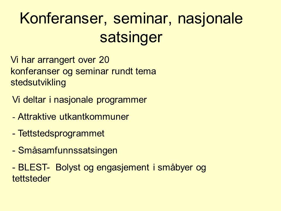 Konferanser, seminar, nasjonale satsinger Vi deltar i nasjonale programmer - Attraktive utkantkommuner - Tettstedsprogrammet - Småsamfunnssatsingen -
