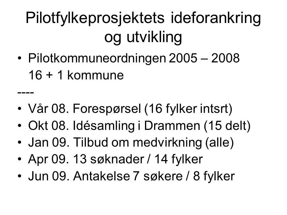 Pilotfylkeprosjektets ideforankring og utvikling Pilotkommuneordningen 2005 – 2008 16 + 1 kommune ---- Vår 08.