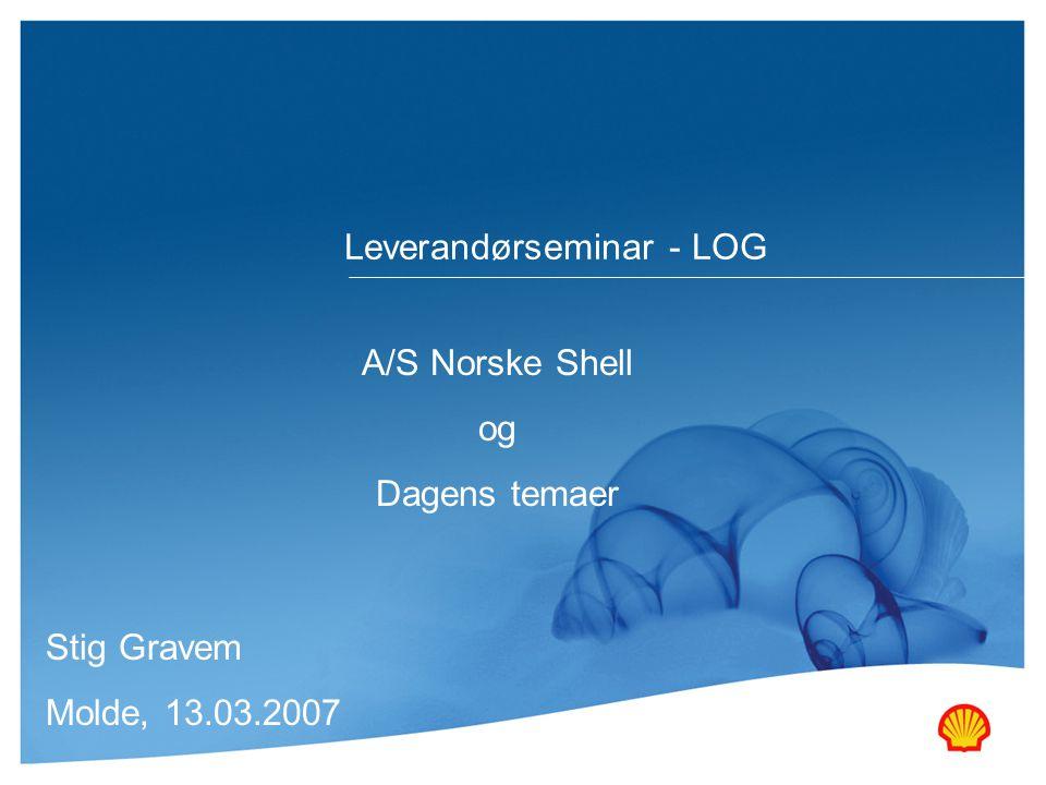 A/S Norske Shell og Dagens temaer Stig Gravem Molde, 13.03.2007 Leverandørseminar - LOG