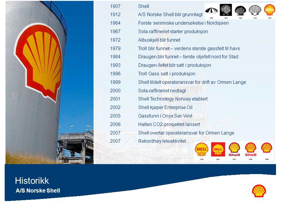 A/S Norske Shell Historikk 1907Shell 1912A/S Norske Shell blir grunnlagt 1964Første seismiske undersøkelse i Nordsjøen 1967Sola-raffineriet starter pr