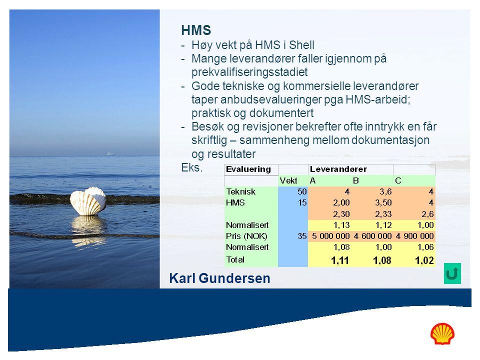 HMS - Høy vekt på HMS i Shell - Mange leverandører faller igjennom på prekvalifiseringsstadiet - Gode tekniske og kommersielle leverandører taper anbu