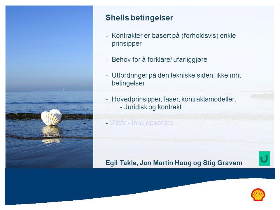 Shells betingelser - Kontrakter er basert på (forholdsvis) enkle prinsipper - Behov for å forklare/ ufarliggjøre - Utfordringer på den tekniske siden;