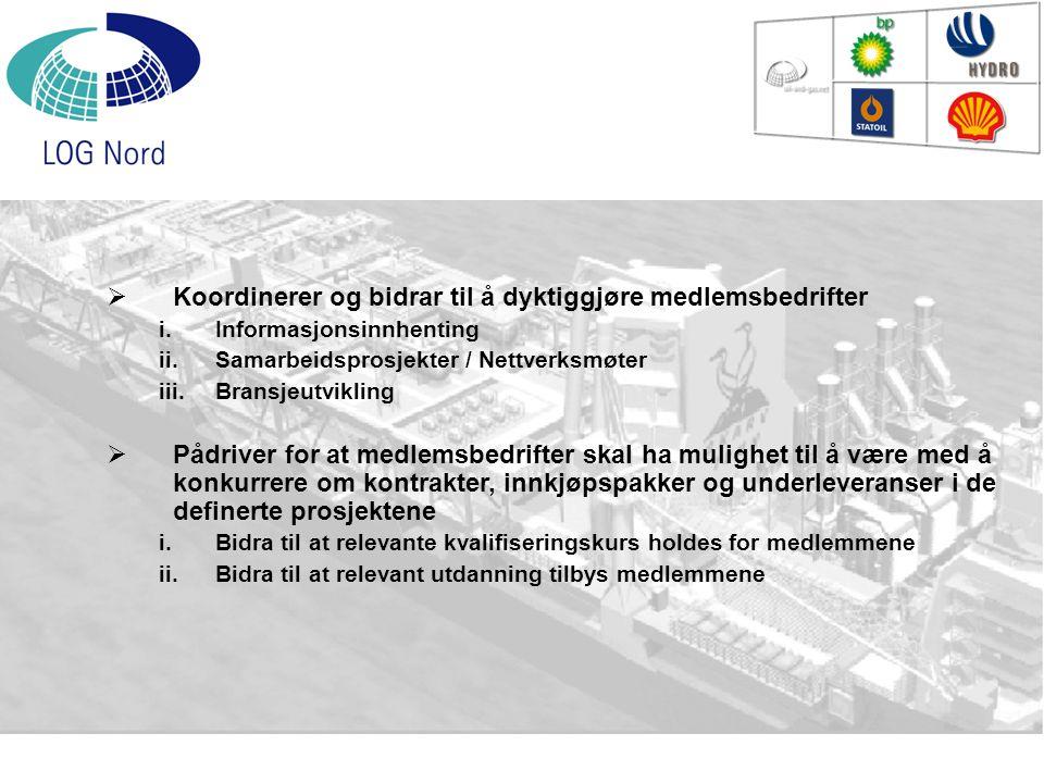  Koordinerer og bidrar til å dyktiggjøre medlemsbedrifter i.Informasjonsinnhenting ii.Samarbeidsprosjekter / Nettverksmøter iii.Bransjeutvikling  På