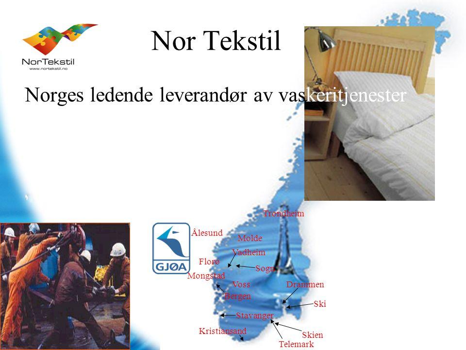 Ski Drammen Skien Telemark Kristiansand Stavanger Bergen Voss Mongstad Florø Sogn Vadheim Ålesund Molde Trondheim Nor Tekstil Norges ledende leverandø