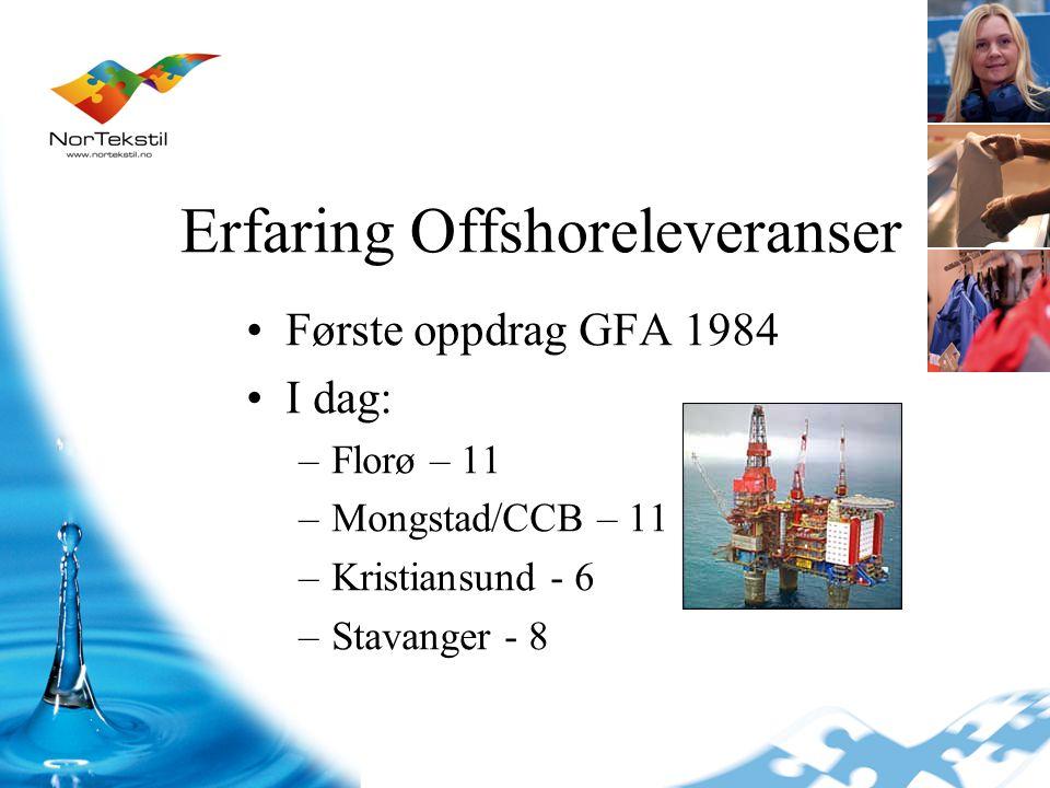 Erfaring Offshoreleveranser Første oppdrag GFA 1984 I dag: –Florø – 11 –Mongstad/CCB – 11 –Kristiansund - 6 –Stavanger - 8