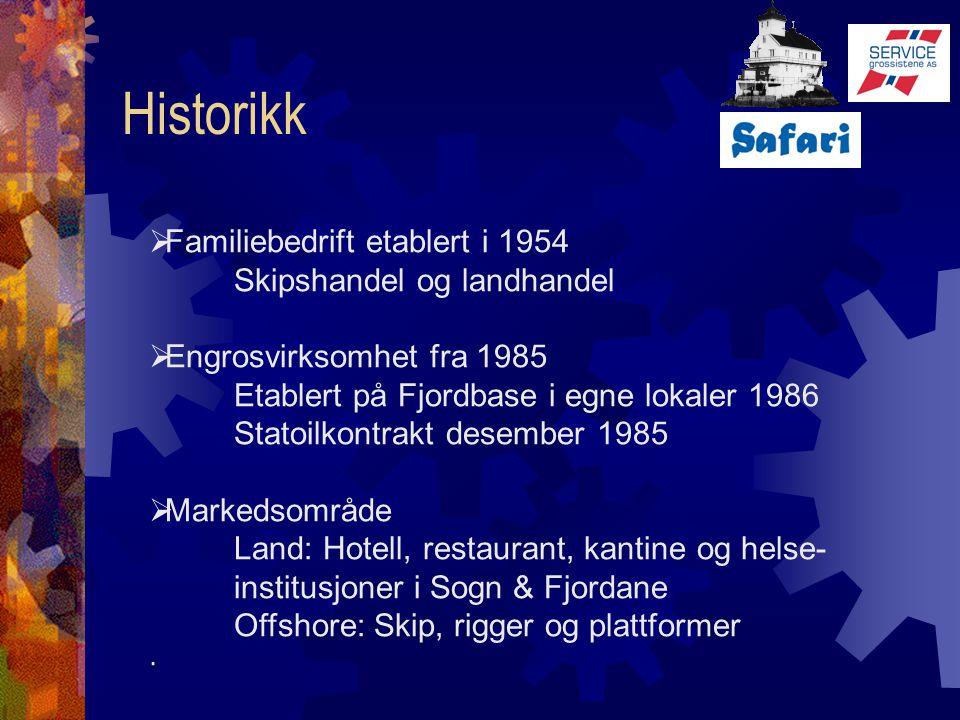 Historikk  Familiebedrift etablert i 1954 Skipshandel og landhandel  Engrosvirksomhet fra 1985 Etablert på Fjordbase i egne lokaler 1986 Statoilkont