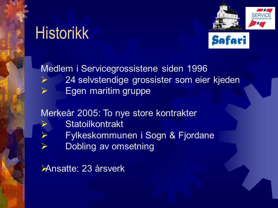 Historikk Medlem i Servicegrossistene siden 1996  24 selvstendige grossister som eier kjeden  Egen maritim gruppe Merkeår 2005: To nye store kontrak