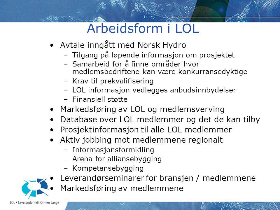 Arbeidsform i LOL Avtale inngått med Norsk Hydro –Tilgang på løpende informasjon om prosjektet –Samarbeid for å finne områder hvor medlemsbedriftene kan være konkurransedyktige –Krav til prekvalifisering –LOL informasjon vedlegges anbudsinnbydelser –Finansiell støtte Markedsføring av LOL og medlemsverving Database over LOL medlemmer og det de kan tilby Prosjektinformasjon til alle LOL medlemmer Aktiv jobbing mot medlemmene regionalt –Informasjonsformidling –Arena for alliansebygging –Kompetansebygging Leverandørseminarer for bransjen / medlemmene Markedsføring av medlemmene