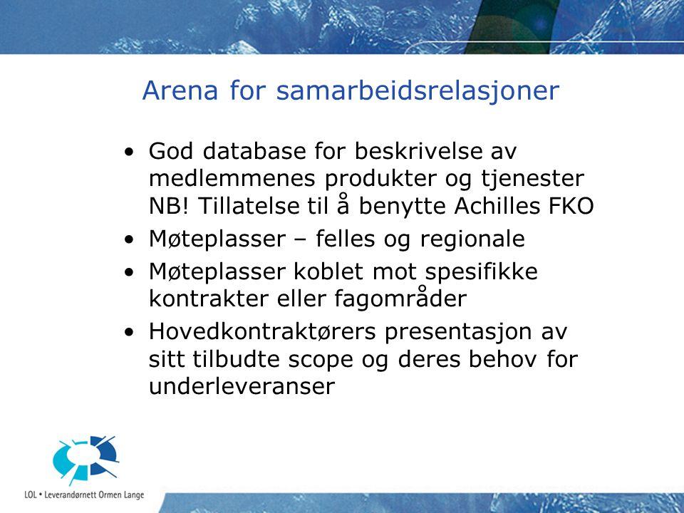 Arena for samarbeidsrelasjoner God database for beskrivelse av medlemmenes produkter og tjenester NB.