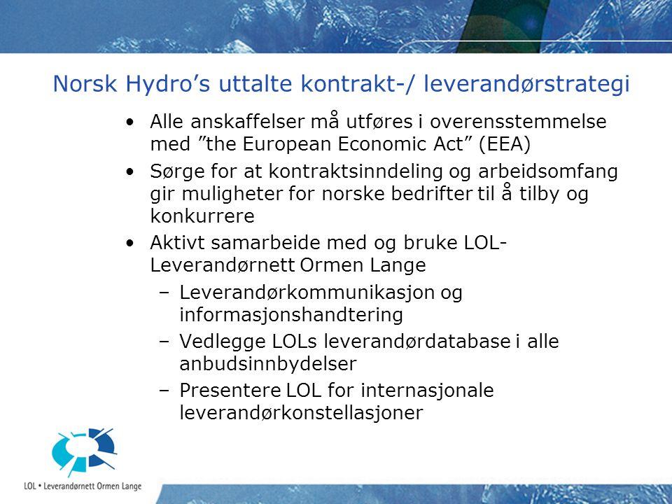 """Norsk Hydro's uttalte kontrakt-/ leverandørstrategi Alle anskaffelser må utføres i overensstemmelse med """"the European Economic Act"""" (EEA) Sørge for at"""