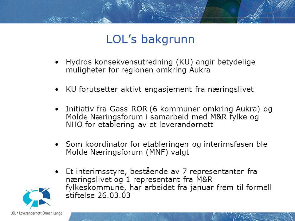 LOL's bakgrunn Hydros konsekvensutredning (KU) angir betydelige muligheter for regionen omkring Aukra KU forutsetter aktivt engasjement fra næringsliv