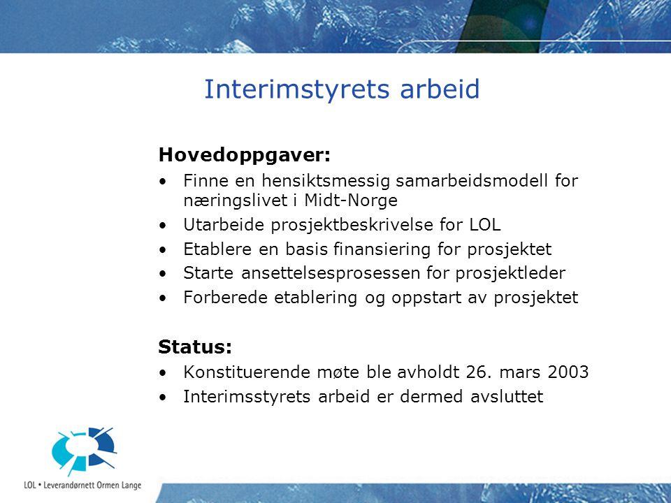 Interimstyrets arbeid Hovedoppgaver: Finne en hensiktsmessig samarbeidsmodell for næringslivet i Midt-Norge Utarbeide prosjektbeskrivelse for LOL Etab