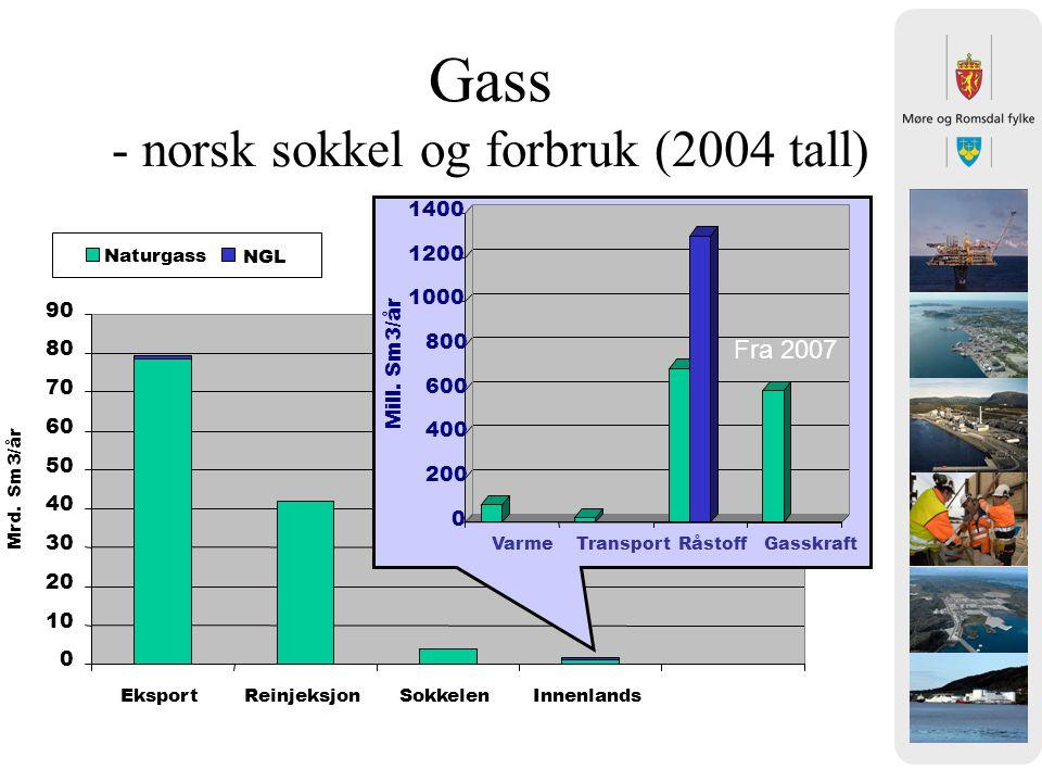 Gass - norsk sokkel og forbruk (2004 tall) 0 10 20 30 40 50 60 70 80 90 EksportReinjeksjonSokkelenInnenlands Mrd. Sm3/år Naturgass NGL 0 200 400 600 8