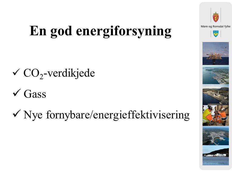 En god energiforsyning CO 2 -verdikjede Gass Nye fornybare/energieffektivisering
