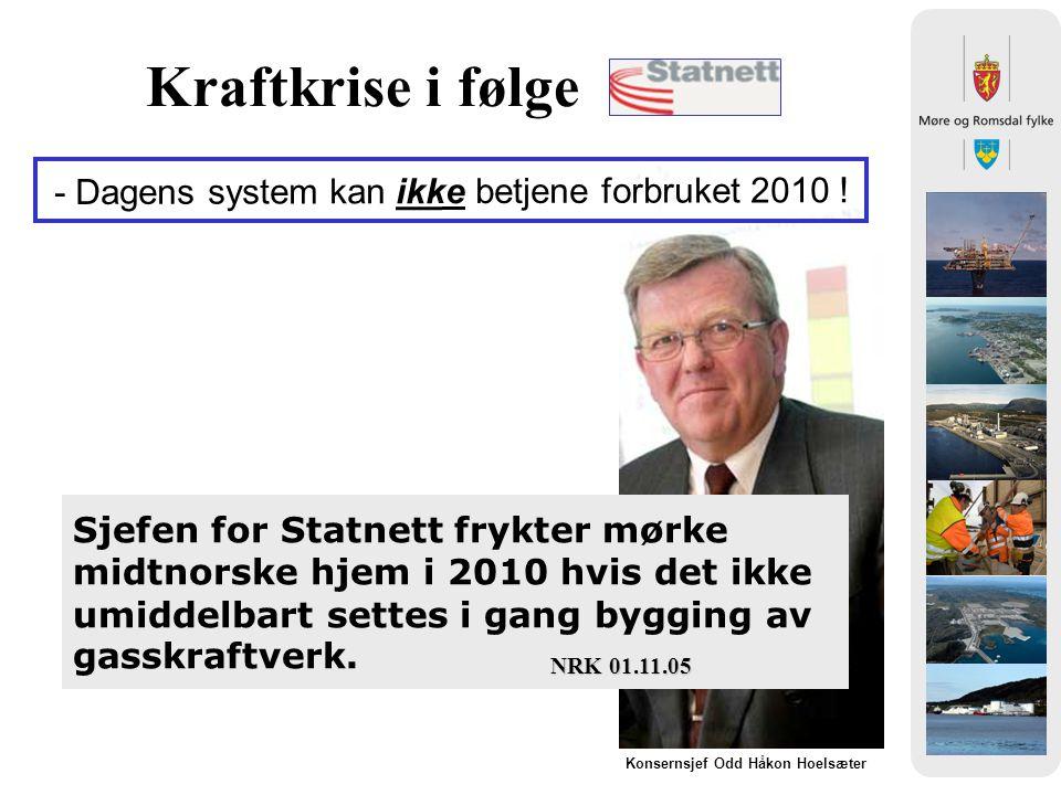 Kraftkrise i følge Sjefen for Statnett frykter mørke midtnorske hjem i 2010 hvis det ikke umiddelbart settes i gang bygging av gasskraftverk.