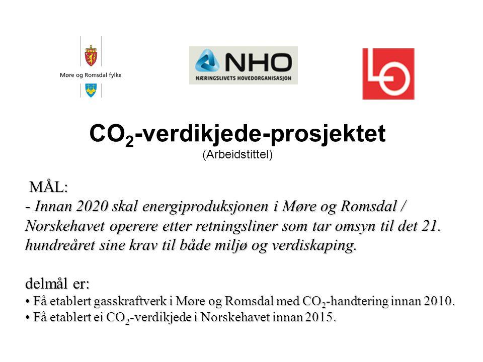 CO 2 -verdikjede-prosjektet (Arbeidstittel) MÅL: - Innan 2020 skal energiproduksjonen i Møre og Romsdal / Norskehavet operere etter retningsliner som tar omsyn til det 21.