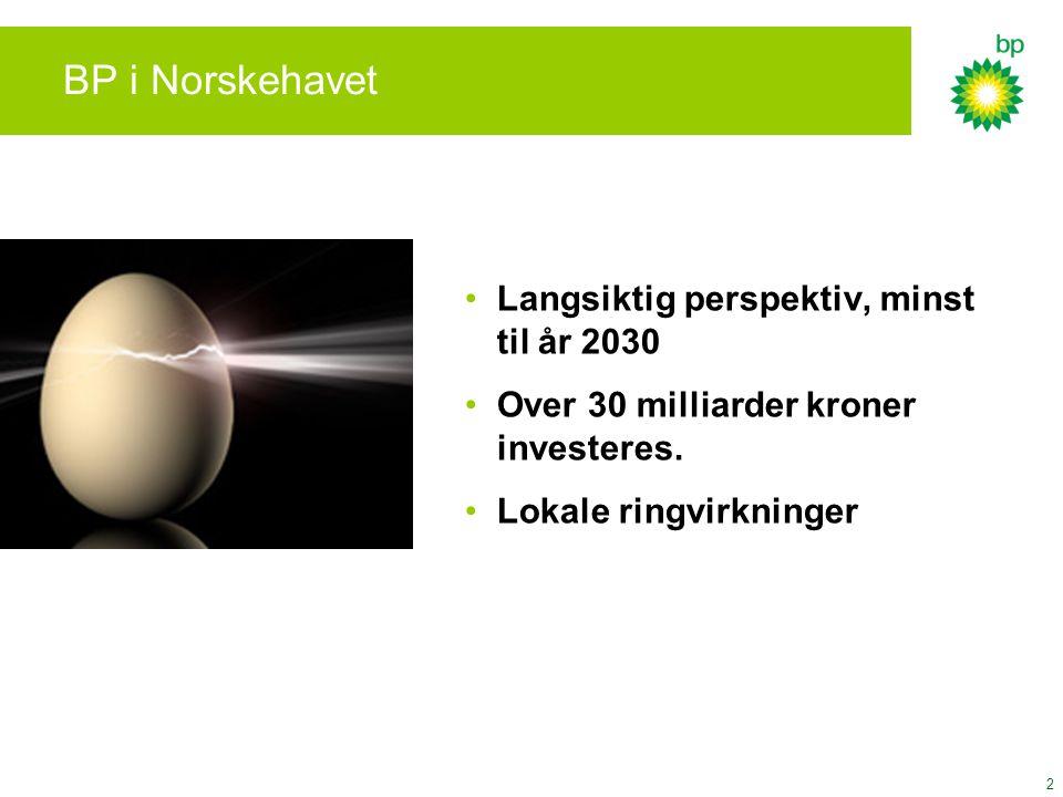2 BP i Norskehavet Langsiktig perspektiv, minst til år 2030 Over 30 milliarder kroner investeres. Lokale ringvirkninger
